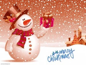 Snow Man Christmas Background for PowerPoint